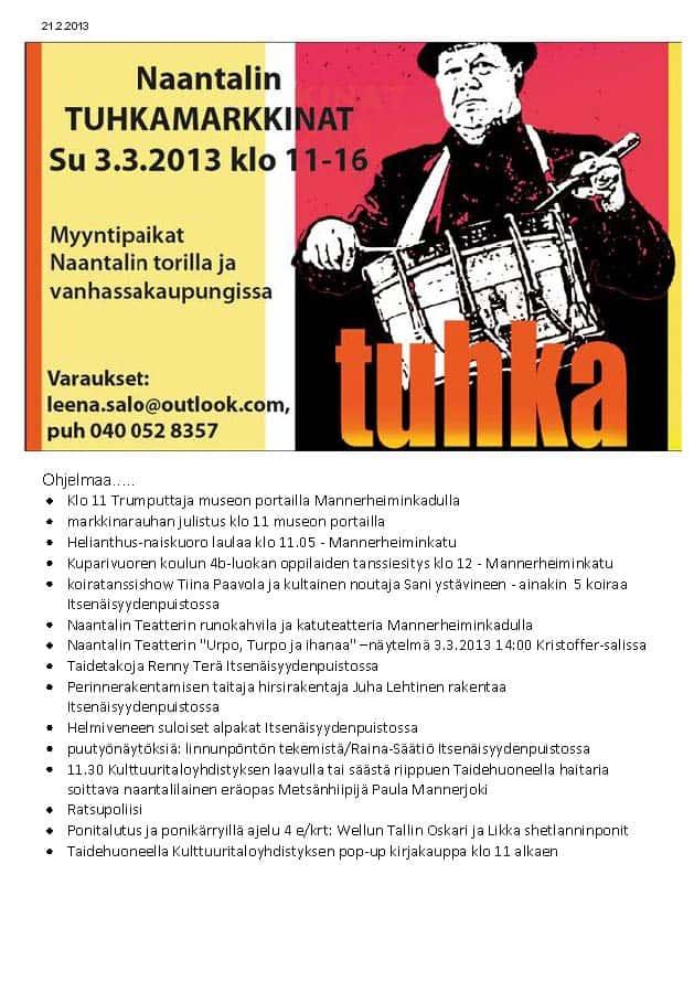 Tuhkamarkkinoidenohjelmaa2013