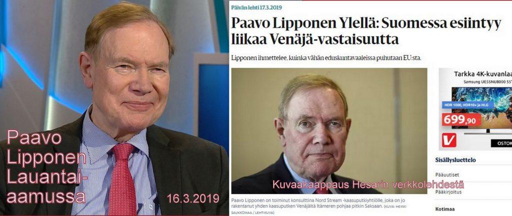 Paavo Lipponen lauantaiaamussa ja HS 20190317jpg
