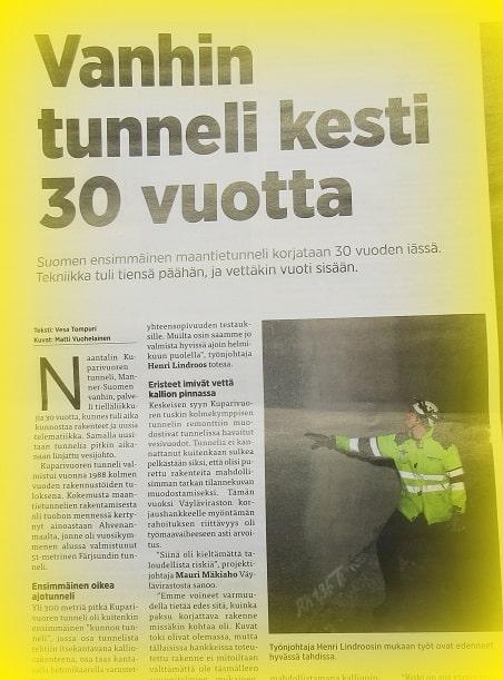 Suomen vanhin ajaotunneli Rakennuslehti 20180301