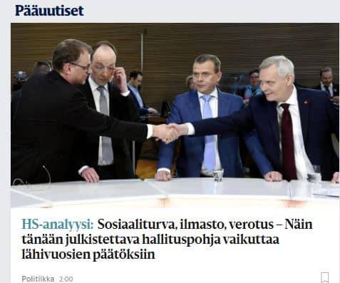 Hallitusneuvottelut ja gallup Hs 20190507