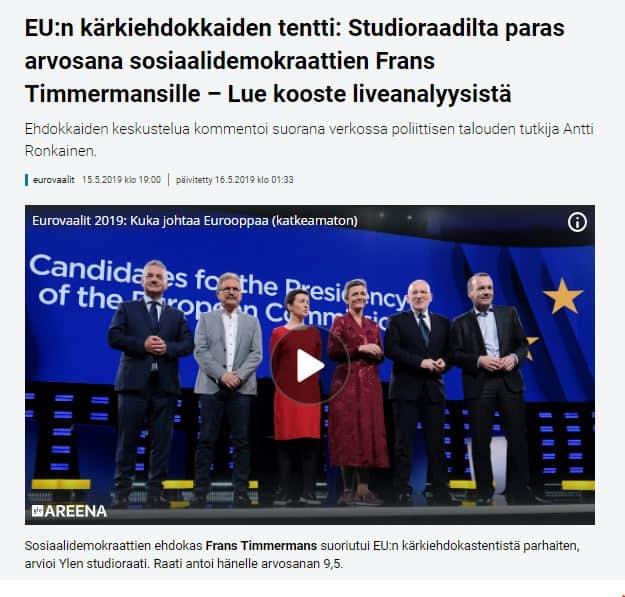 Timmermans ykkönen 20190515