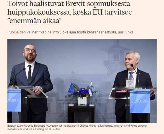 Tarvitaan lisäaikaa Brexit sopimukseen Ft 20191015JPG
