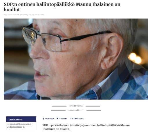 Manu Ihalainen kuollut 20191215