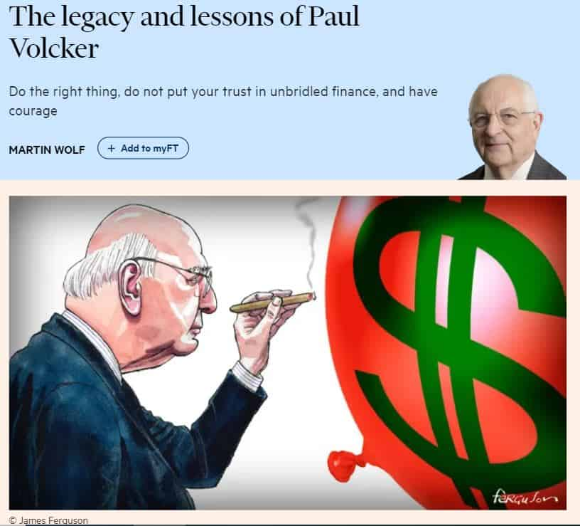 Paul Volckerin perintö ja opetus 20191211