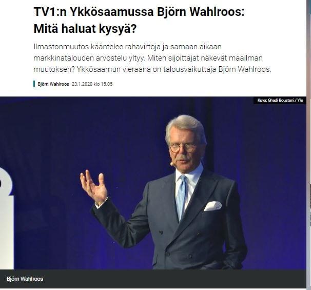 Björn wahlroos ykkösamussa. 20200125