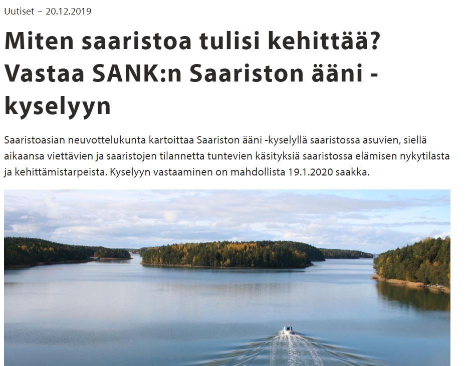 Miten Saaristo pitäsi kehittää 20191222