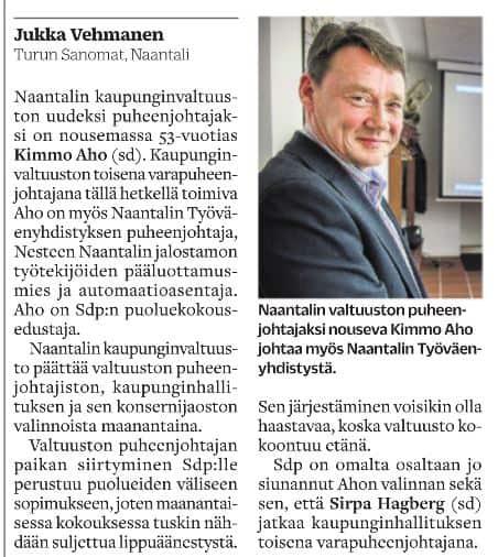 Kimmo Aho valtuuston pj TS Jukka Vehmanen 20200425