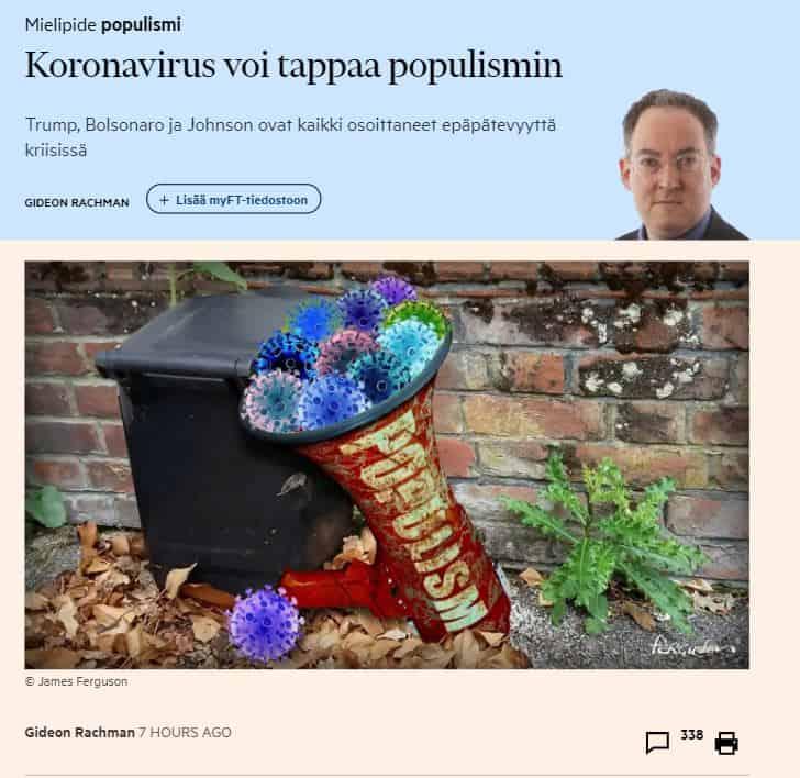 Koronavirus voi tappaa populismin Rachman 20200629JPG
