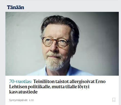 Erno Lehtinen 70 v HS 20200725JPG