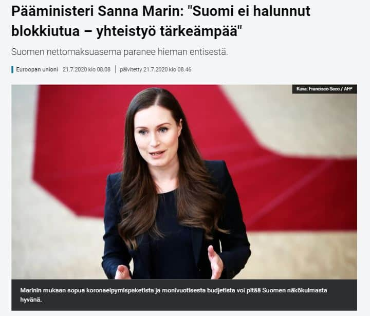 Sanna marin Suomi ei blokkiutunut 20200721JPG