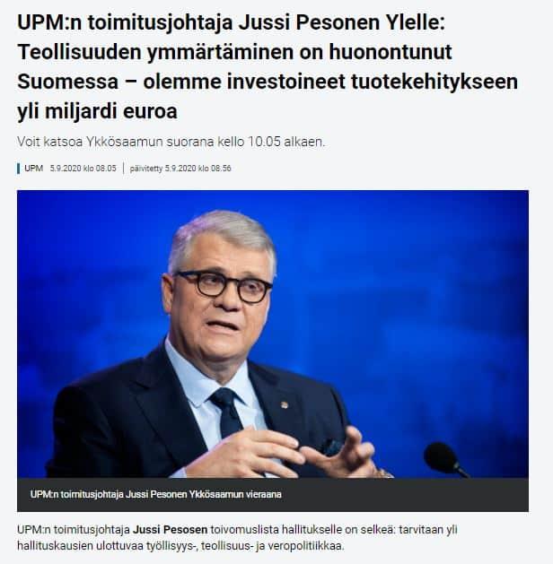 Jussi Pesonen yle aamussa 20200905