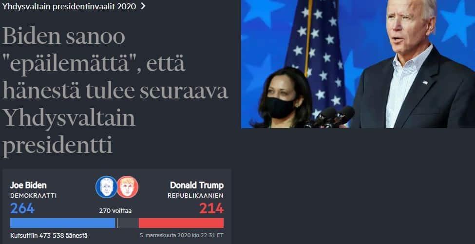 Biden uskoo voittoon FT 20201105JPG