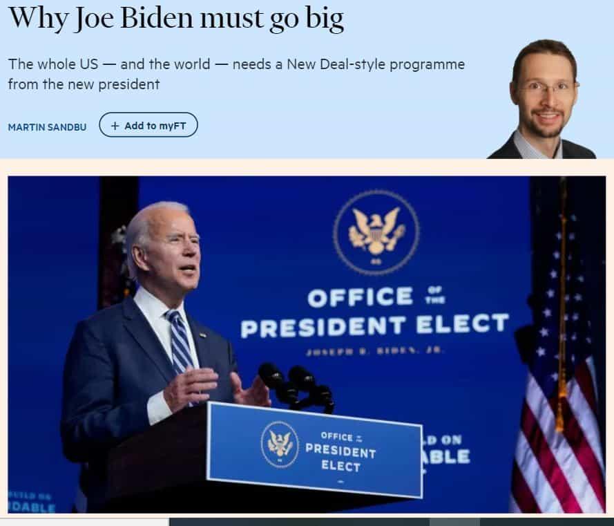 Bidenin on tehtävä suuria New Deal 20201114