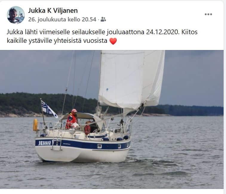 Jukka Viljanen viimeiselle purjehdukselle Fb 20201226