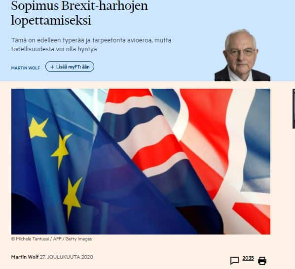 Sopimus brexit harhojen loepttamiseksi Wolf 20201227