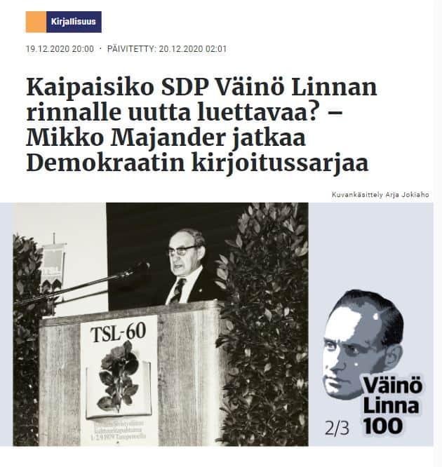 Väinö Linna 100 vuotta Majandera 20201219