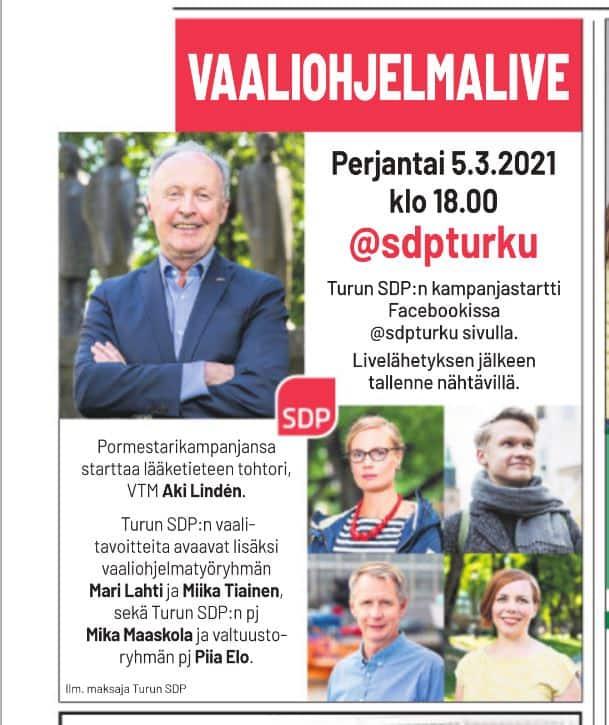 Vaaliohjelma Livenä Aki Linden 20210303JPG
