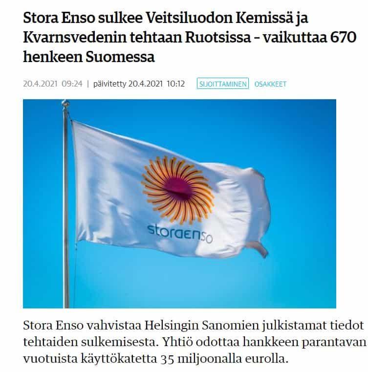 Stora Enso sulkee KL 20210420