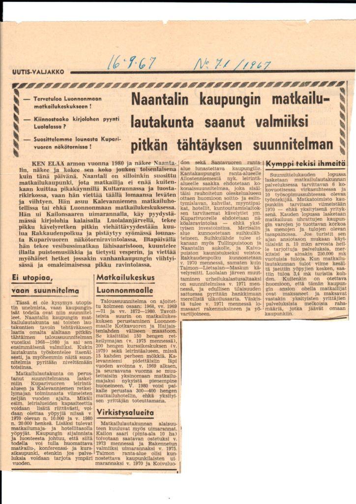 Uutis-Valjakko Matkailu 1967