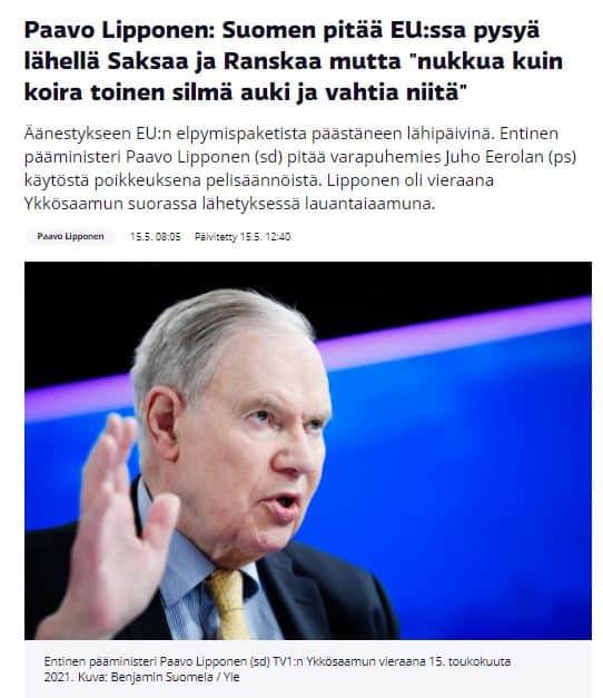 Paavo Lipponen ykkosaamu 202100515