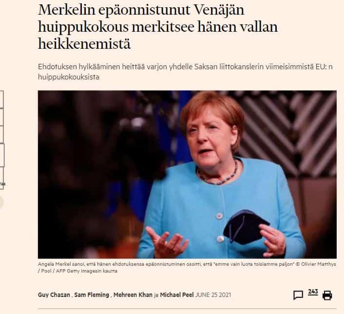 Merkelin epäonnistuminen 20210625
