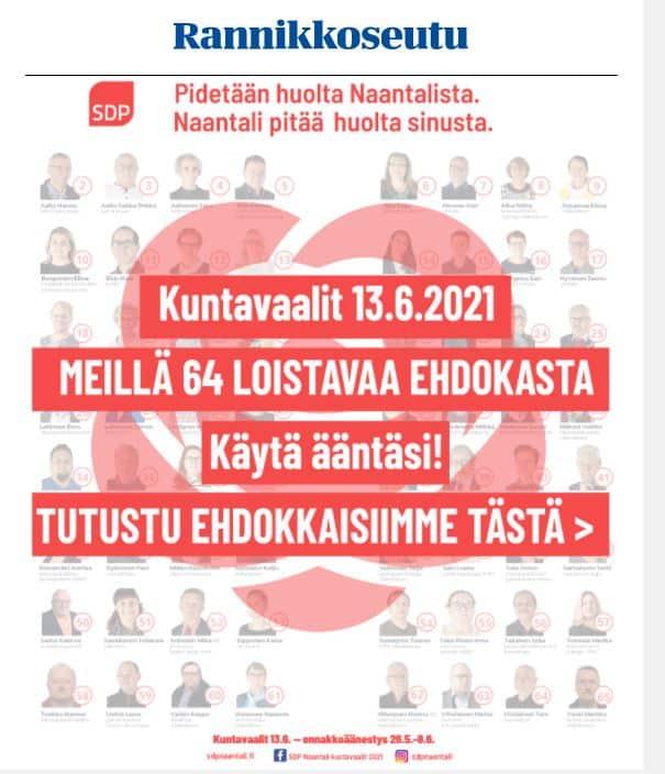 SDP mainos verkkosivuilla 202100609