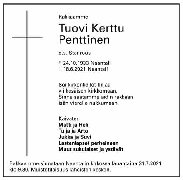 Tuovi Penttine kuoinilmoitus 20210725