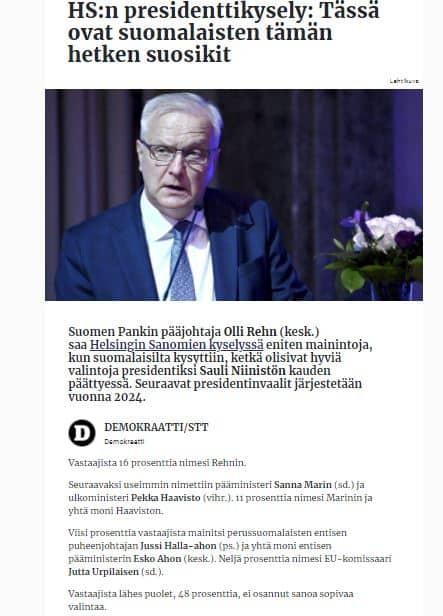 Oli Rehn suosituin 20210908