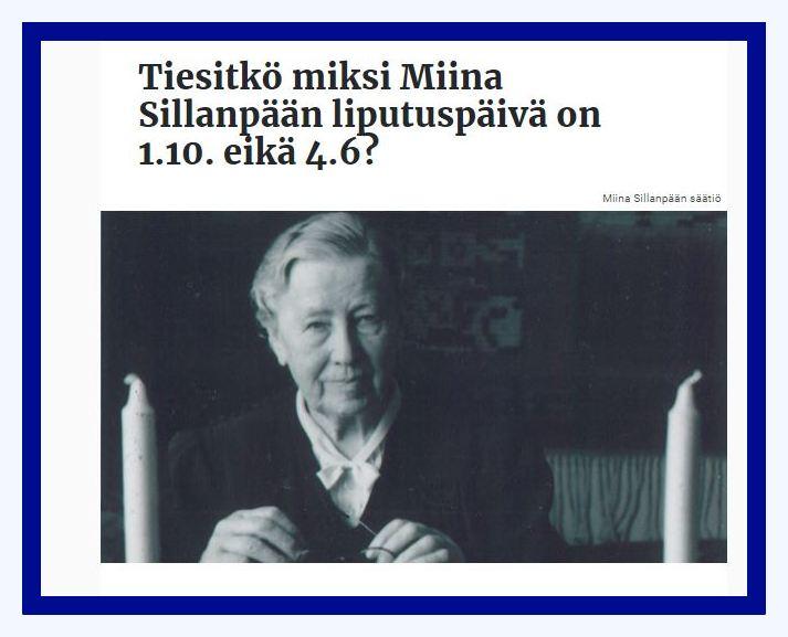 Miina Sillanpää päivä 20211001